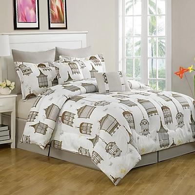 Luxury Home Sidney Birdcage 8 Piece Comforter Set; Queen