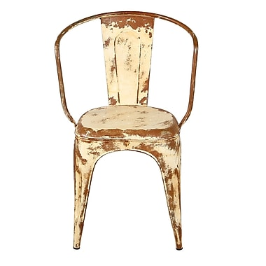 Wildon Home Distressed Bistro Chair; Ivory