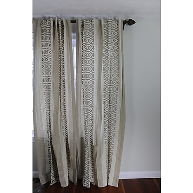Art Home Wooly Geometric Blackout Rod Pocket Single Curtain Panel; Beige