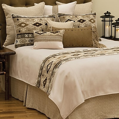 Wooded River Mountain Storm Coverlet; Twin