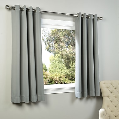 Half Price Drapes Plush Solid Blackout Thermal Grommet Curtain Panels (Set of 2); Neutral Grey