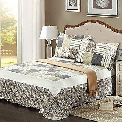 Tache Home Fashion Plaid Morning Flower Galore Reversible Bedspread Set; Full