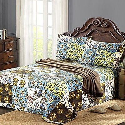 Tache Home Fashion Plaid Mystical Autumn Leaves Reversible Bedspread Set; Queen