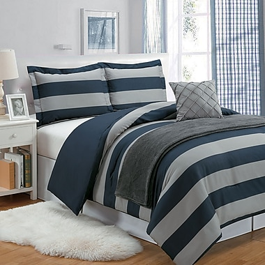 Luxury Home Stripe 5 Piece Comforter Set; Twin