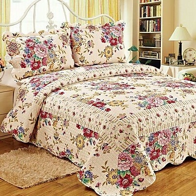 Tache Home Fashion 3 Piece Reversible Quilt Set; Queen