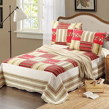 Tache Home Fashion 3 Piece Reversible Bedspread Set; Full