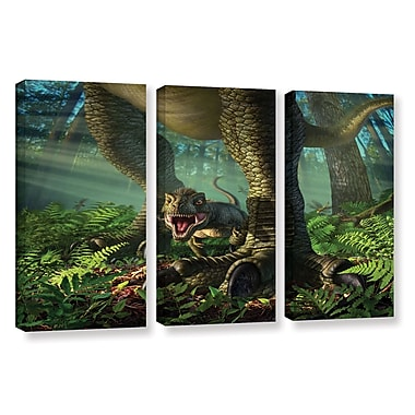 ArtWall 'Wee Rex' by Jerry Lofaro 3 Piece Graphic Art on Wrapped Canvas Set
