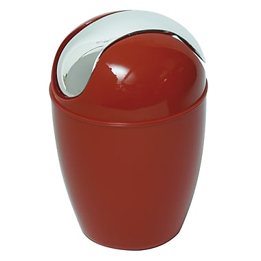 Evideco Plastic 0.3 Gallon Swing Top Trash Can; Shiny Red