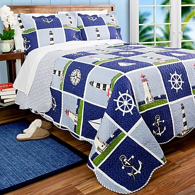 Pegasus Home Fashions Lighthouse Quilt Set; Full/Queen