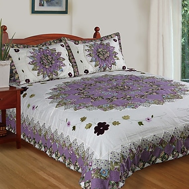 Cozy Line Home Fashion Pansy's Field Quilt Set; Twin