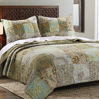 Greenland Home Fashions Paisley Dream Reversible Quilt Set; Full/Queen