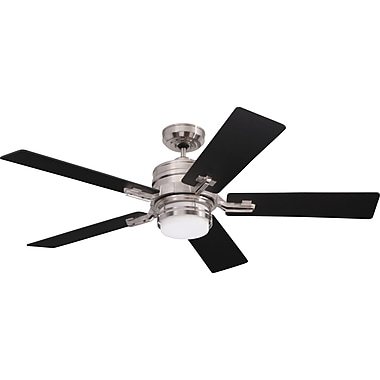 Emerson Fans 54'' Transitional Amhurst 5-Blade Fan; Brushed Steel with Dark Cherry Blades