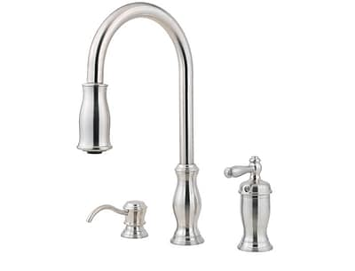 Pfister Hanover Pull Out Single Handle Kitchen Faucet w/ Soap Dispenser; Stainless Steel