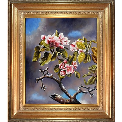 Tori Home 'Branch of Apple Blossoms Against Cloudy Sky' Framed Oil Painting Print on Canvas