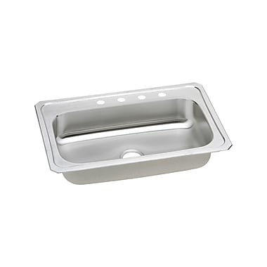 Elkay Gourmet 33'' x 22'' Top Mount Kitchen Sink; 3 Hole