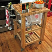 Chris U0026 Chris Pro Chef Kitchen Cart; Natural Lacquer