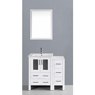 Bosconi Contemporary 36'' Single Bathroom Vanity Set w/ Mirror; White