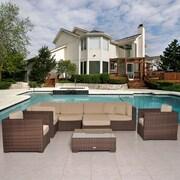 International Home Miami Southampton 9 Piece Seating Group w/ Sunbrella Cushions