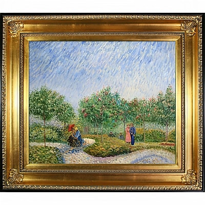 Tori Home Couples in the Voyer d Argenson Park at Asnierse by Vincent Van Gogh Framed Painting