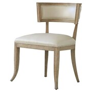 Global Views Klismos Genuine Leather Upholstered Dining Chair; Beige Leather