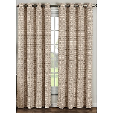 Window Elements Ancient Geometric Sheer Curtain Panels (Set of 2); Taupe