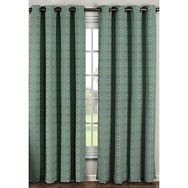 Window Elements Ancient Geometric Sheer Curtain Panels (Set of 2); Teal