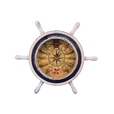 Handcrafted Nautical Decor 12'' Ship Wheel w/ Knot Faced Clock