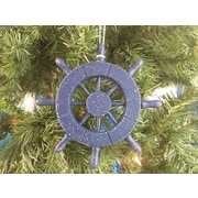 Handcrafted Nautical Decor 6'' Decorative Ship Wheel Christmas Tree Ornament; Rustic Dark Blue