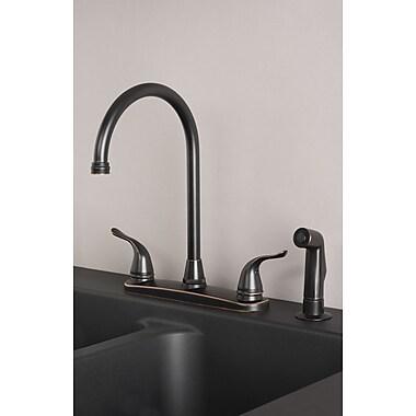 BuildersShoppe Double Handle Kitchen Faucet w/ Side Spray; Oil rubbed bronze