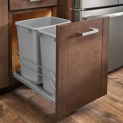 Rev-A-Shelf Plastic 8.75 Gallon Pull Out Trash Can; Silver Metallic