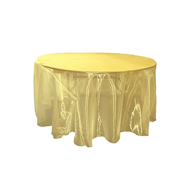 LA Linen Organza Sheer Round Tablecloth; Dark Yellow
