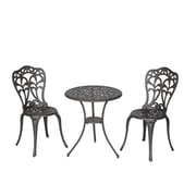 Meadow Decor Flora 3 Piece Bistro Set; Walnut