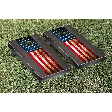 Victory Tailgate US Vintage Flag Onyx Stained Stripe Version Cornhole Game Set