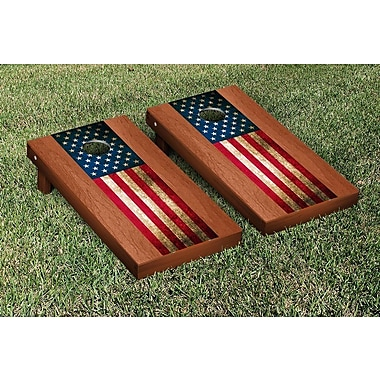 Victory Tailgate US Vintage Flag Rosewood Stained Stripe Version Cornhole Game Set