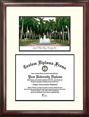 Campus Images NCAA Legacy Scholar Diploma Picture Frame; Miami Hurricanes