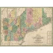 Graffitee Studios Maps '1826 Maine Vermont New Hampshire Map' Graphic Art on Wrapped Canvas