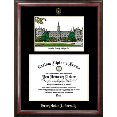 Campus Images NCAA Gold Embossed Diploma w/ Campus Images Lithograph Picture Frame; Georgetown Hoyas