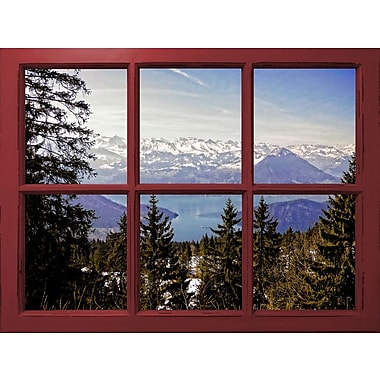 Graffitee Studios Lake Luzern Mountain Window View' Graphic Art on Wrapped Canvas