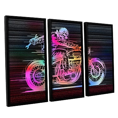 ArtWall 'Moto IV' by Greg Simanson 3 Piece Framed Graphic Art on Canvas Set; 36'' H x 54'' W x 2'' D