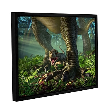 ArtWall 'Wee Rex' by Jerry Lofaro Framed Graphic Art on Wrapped Canvas; 36'' H x 48'' W