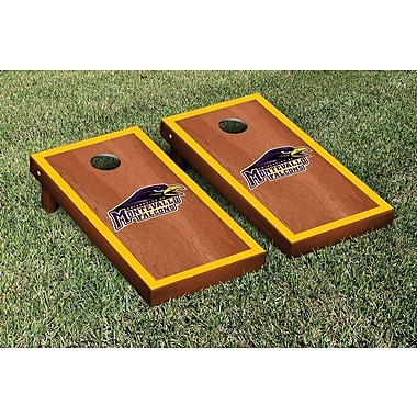 Victory Tailgate NCAA Rosewood Stained Border Version Cornhole Bag Toss Game Set; Montevallo Falcons