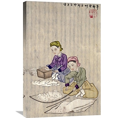 Global Gallery 'Preparing Cotton for Weaving' by Kim Junkeu Painting Print on Wrapped Canvas