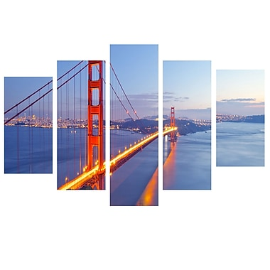 3 Panel Photo Golden Gate Color II 5 Piece Photographic Print on Wrapped Canvas Set