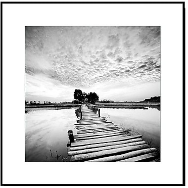 3 Panel Photo Wood Mounted Pier at the Lake #1 Framed Photographic Print