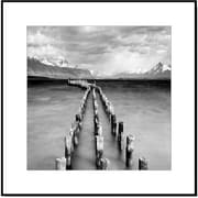 3 Panel Photo Wood Mounted Pier at the Lake #2 Framed Photographic Print