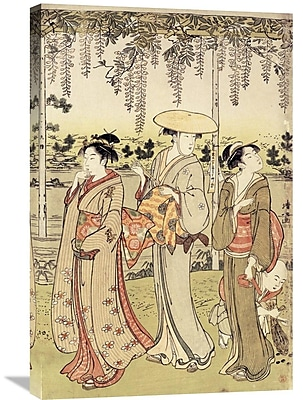 Global Gallery 'Three Women Viewing Wisteria at Kamedo' by Kiyonaga Painting Print on Wrapped Canvas