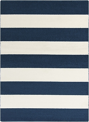 Wildon Home Hall Cobalt & Ivory Striped Area Rug; 5'3'' x 7'3''