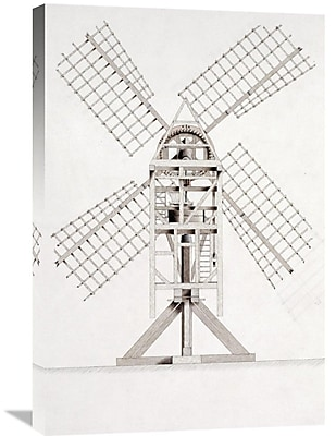 Global Gallery 'Drawings for Windmills' by John Faed Graphic Art on Wrapped Canvas