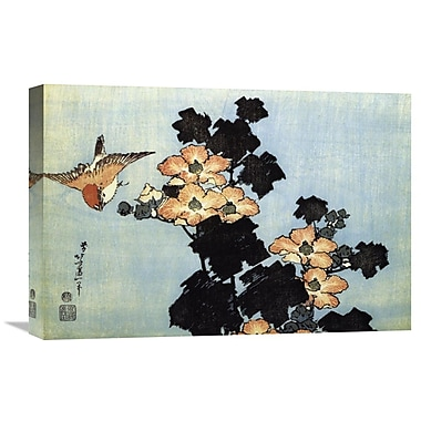 Global Gallery 'Hibiscus and Sparrow' by Hokusai Painting Print on Wrapped Canvas