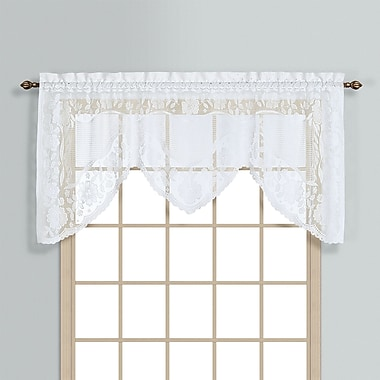 United Curtain Co. Windsor Rod Pocket Swag 72'' Curtain Valance; White